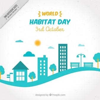 Fondo moderno del día mundial del hábitar con paisaje de ciudad