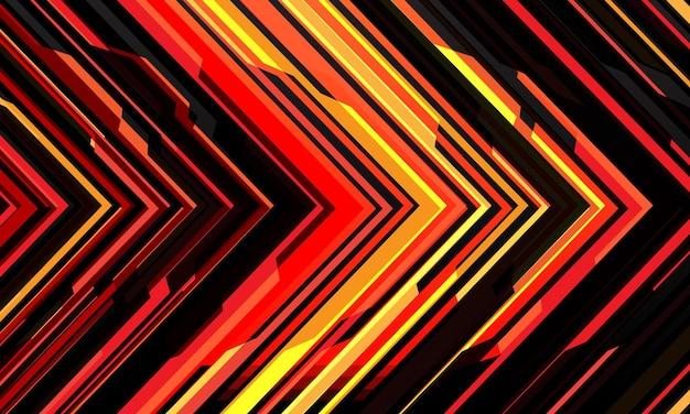 Fondo moderno de la dirección futurista futurista de la tecnología geométrica cibernética de la luz de la flecha negra amarilla roja abstracta.