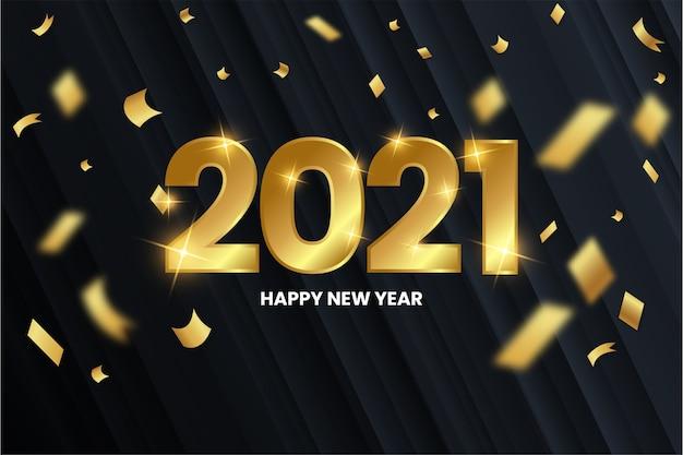 Fondo moderno feliz año nuevo con números dorados