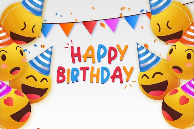 Fondo moderno feliz cumpleaños con emoticonos