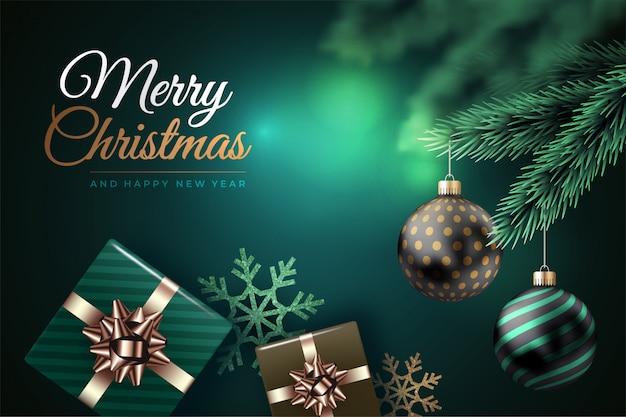 Fondo moderno de feliz navidad con bolas y regalos