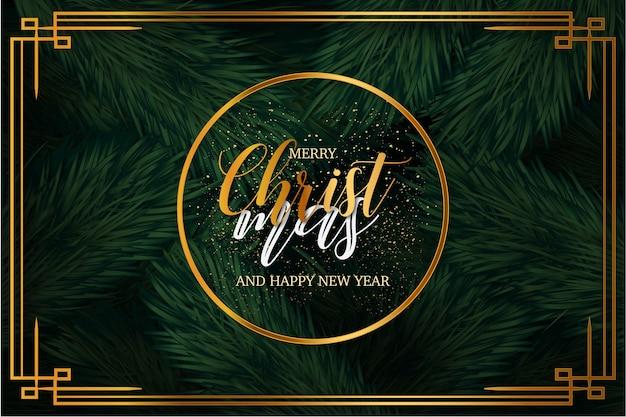 Fondo moderno feliz navidad con marco de lujo