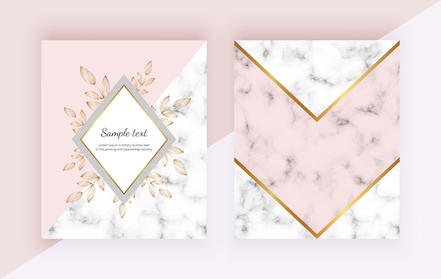 Fondo moderno con flores, diseño geométrico de mármol, líneas doradas, formas triangulares