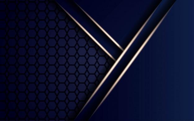 Fondo moderno de forma azul con líneas de luz doradas en hexágono.