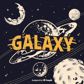 Fondo moderno de galaxia dibujado a mano