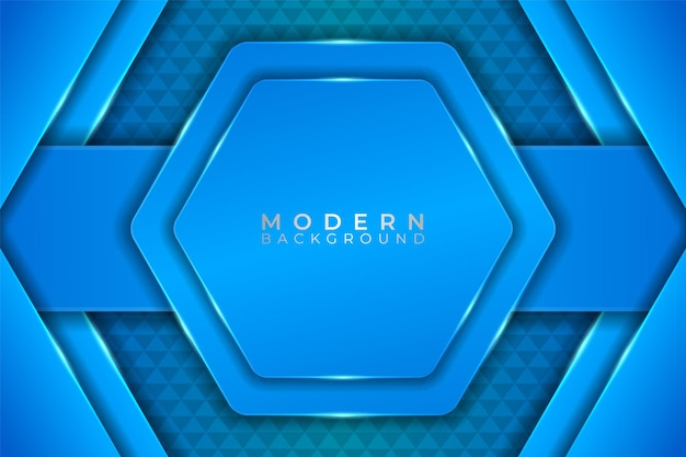Fondo moderno con hexágono elegante realista resplandeciente azul claro