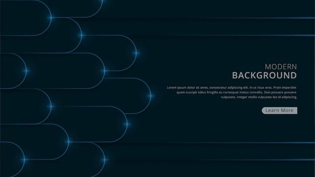 Fondo moderno de lujo con forma geométrica redondeada vector premium de tema de color azul marino oscuro
