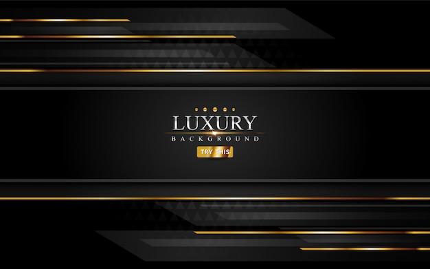 Fondo moderno de lujo negro con elemento de líneas doradas.