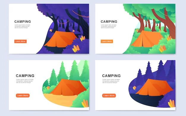 Fondo moderno moderno de la página de aterrizaje del campamento al aire libre