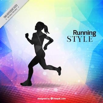 Fondo moderno de running con silueta de mujer