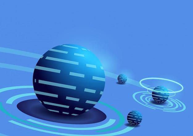 Fondo moderno de la tecnología de la bola de la ciencia ficción