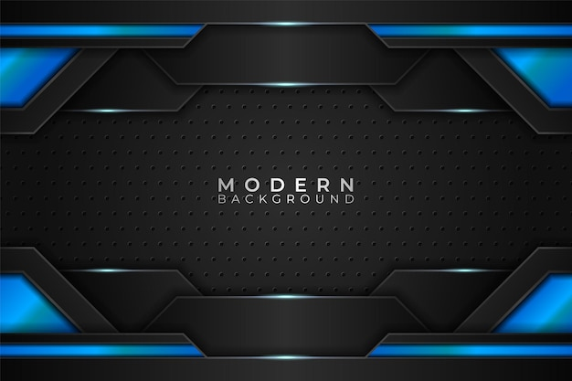 Fondo moderno tecnología realista azul futurista con patrón de hexágono oscuro