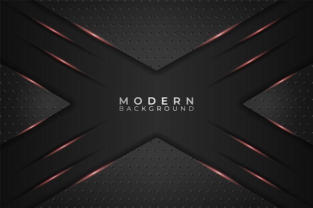 Fondo moderno triángulo realista tecnología metálica que brilla intensamente en rojo y oscuro