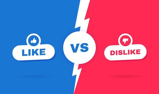 Fondo moderno versus batalla. concepto de redes sociales. competiciones entre agrado o disgusto. ilustración.