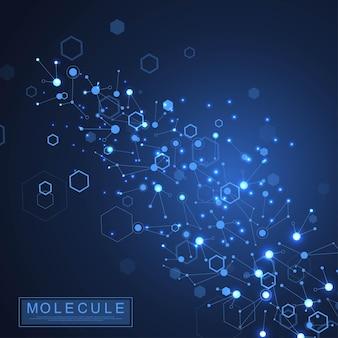 Fondo de molécula científica ilustración de doble hélice de adn con poca profundidad de campo. papel tapiz misterioso o pancarta con moléculas de adn. vector de información genética