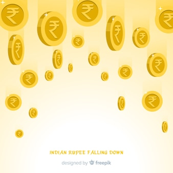 Fondo de monedas de rupias indias cayendo