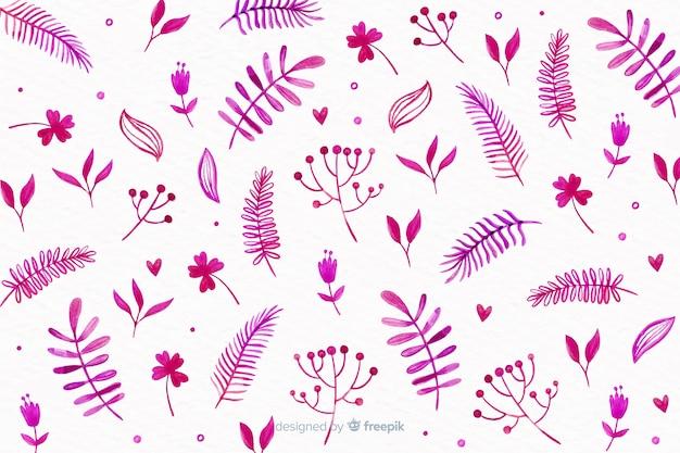 Fondo monocromático de flores de acuarela