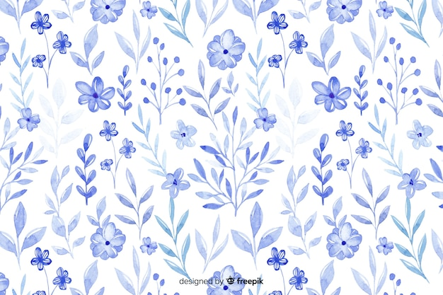 Fondo monocromático de flores azules acuarela