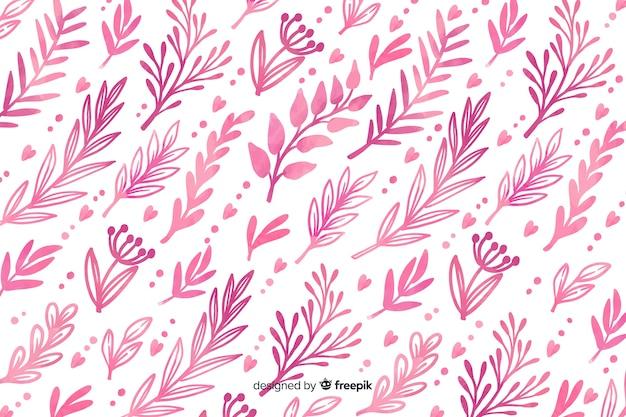 Fondo monocromático de flores de color rosa acuarela