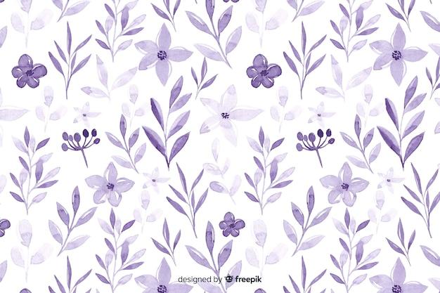 Fondo monocromático de flores violeta acuarela