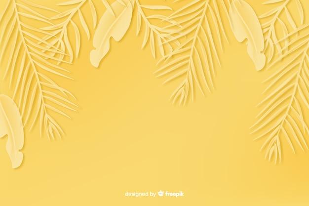 Fondo monocromo de hojas en papel en amarillo