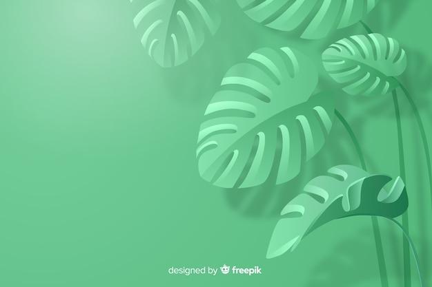 Fondo monocromo de hojas en papel