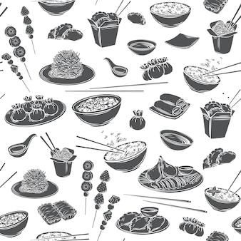 Fondo monocromo de patrones sin fisuras de cocina china