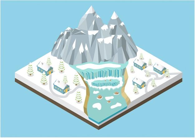 Fondo de montañas isométricas de invierno