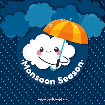Fondo de monzón adorable con nube