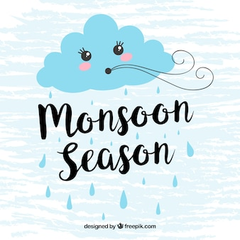 Fondo de monzón con nube soplando