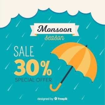 Fondo de monzón de rebajas con paraguas