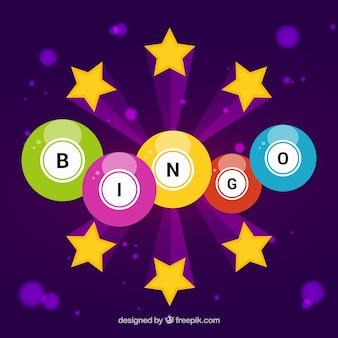 Fondo morado con bolas coloridas de bingo y estrellas