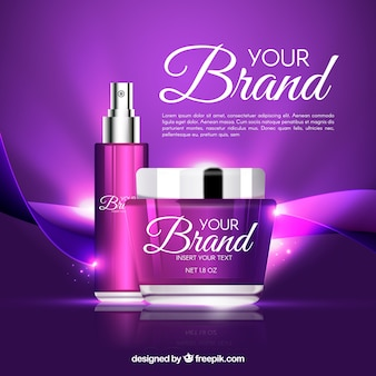 Fondo morado brillante de cosméticos