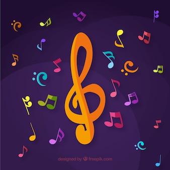 Fondo morado con coloridas notas musicales y clave de sol