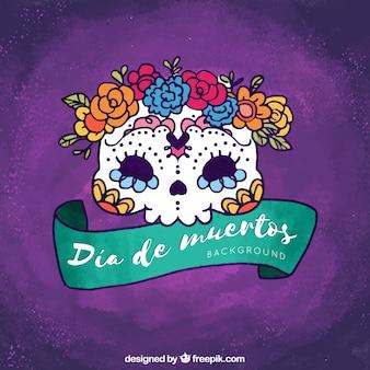 Fondo morado de calavera mexicana dibujada a mano