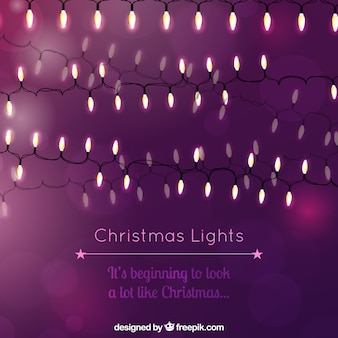 Fondo morado de luces de navidad