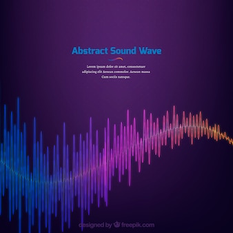 Fondo morado con onda sonora abstracta de colores