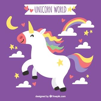 Fondo morado de unicornio feliz con nubes y arcoiris