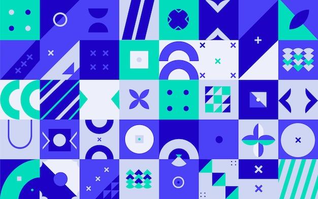 Fondo de mosaico azul plano