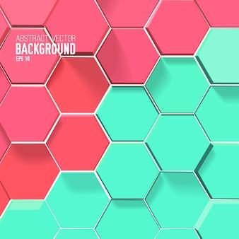 Fondo de mosaico claro con hexágonos rojos y verdes
