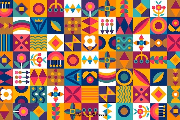 Fondo de mosaico de formas geométricas coloridas