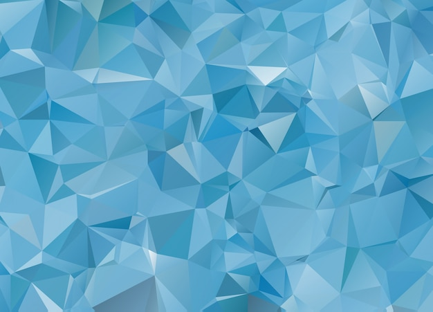 Fondo de mosaico poligonal de luz blanca azul, ilustración vectorial