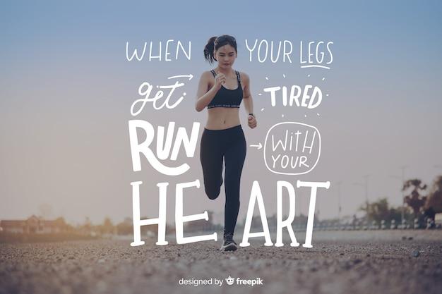 Fondo motivacional deporte letras con foto