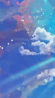 Fondo de móvil de cielo estrellado de acuarela