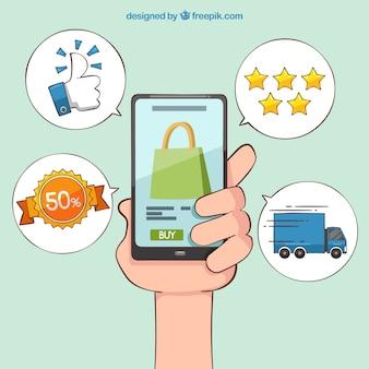 Fondo de móvil para compras online