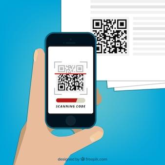 Fondo de móvil escaneando código qr