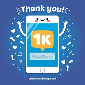 Fondo de móvil feliz agradecido por 1k de seguidores