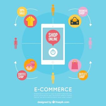 Fondo de móvil y tienda online en diseño plano