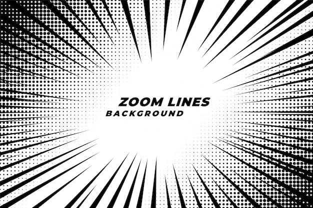 Fondo de movimiento de líneas de zoom cómicas con efecto de semitono