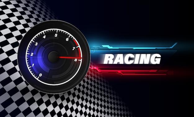 Fondo de movimiento de velocidad con coche velocímetro. fondo de velocidad de carrera.